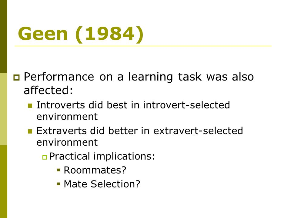 Geen (1984) Performance on a learning task was also affected: