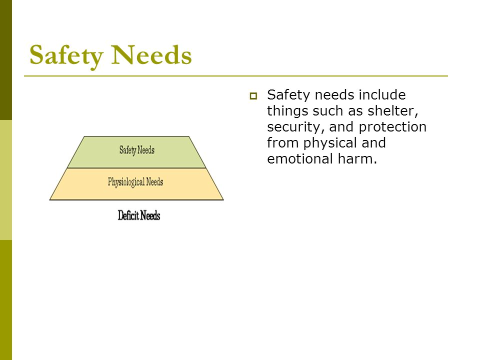 Safety Needs Safety needs include things such as shelter, security, and protection from physical and emotional harm.