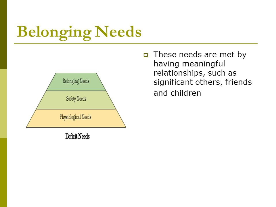Belonging Needs These needs are met by having meaningful relationships, such as significant others, friends and children.