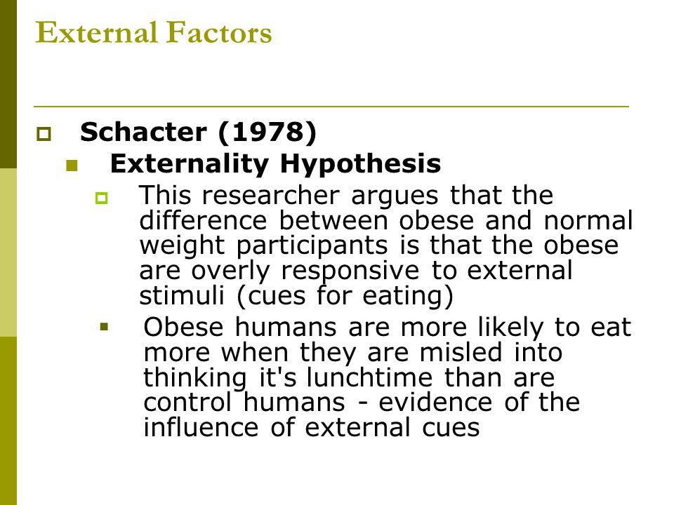 External Factors Schacter (1978) Externality Hypothesis