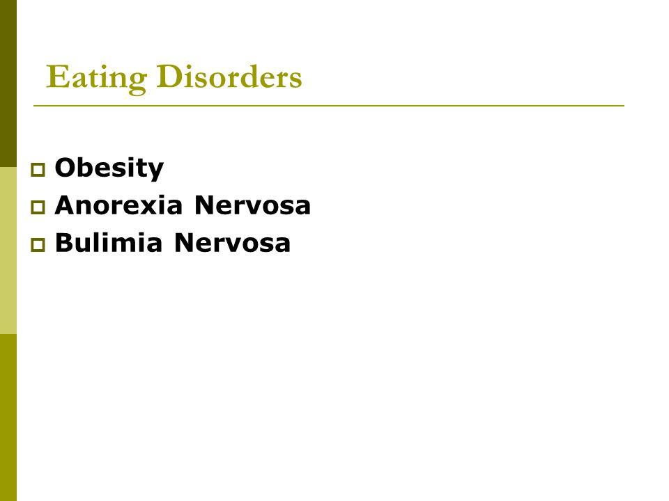 Eating Disorders Obesity Anorexia Nervosa Bulimia Nervosa