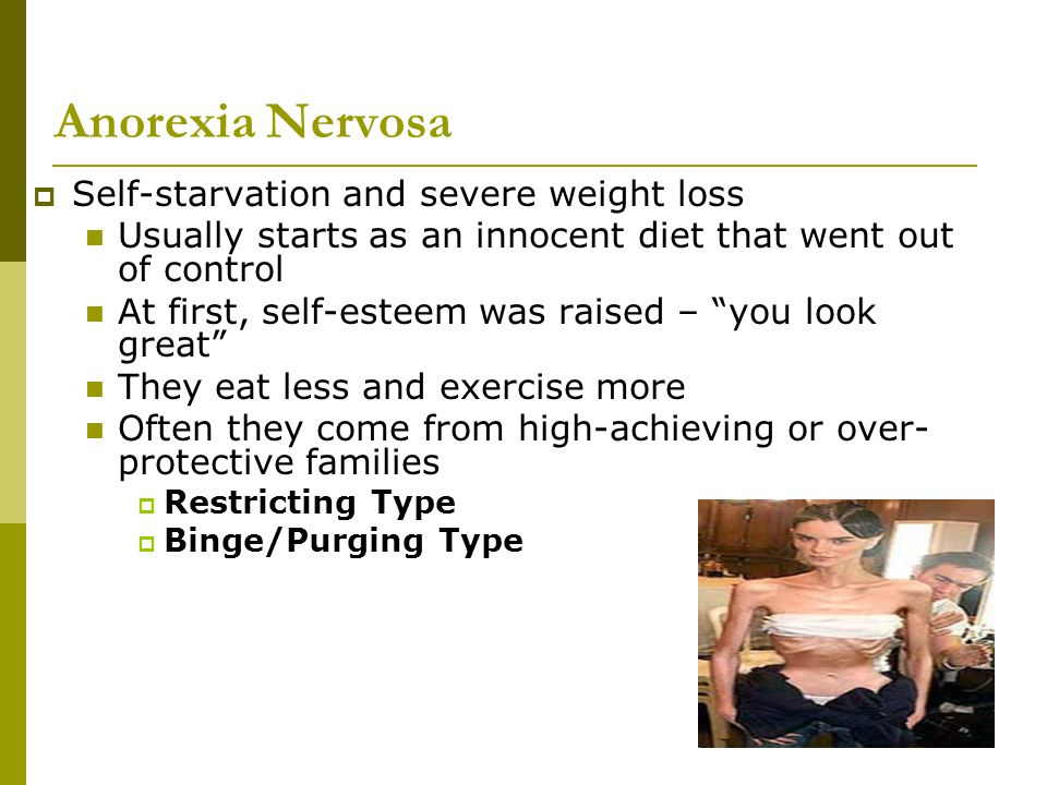 Anorexia Nervosa Self-starvation and severe weight loss