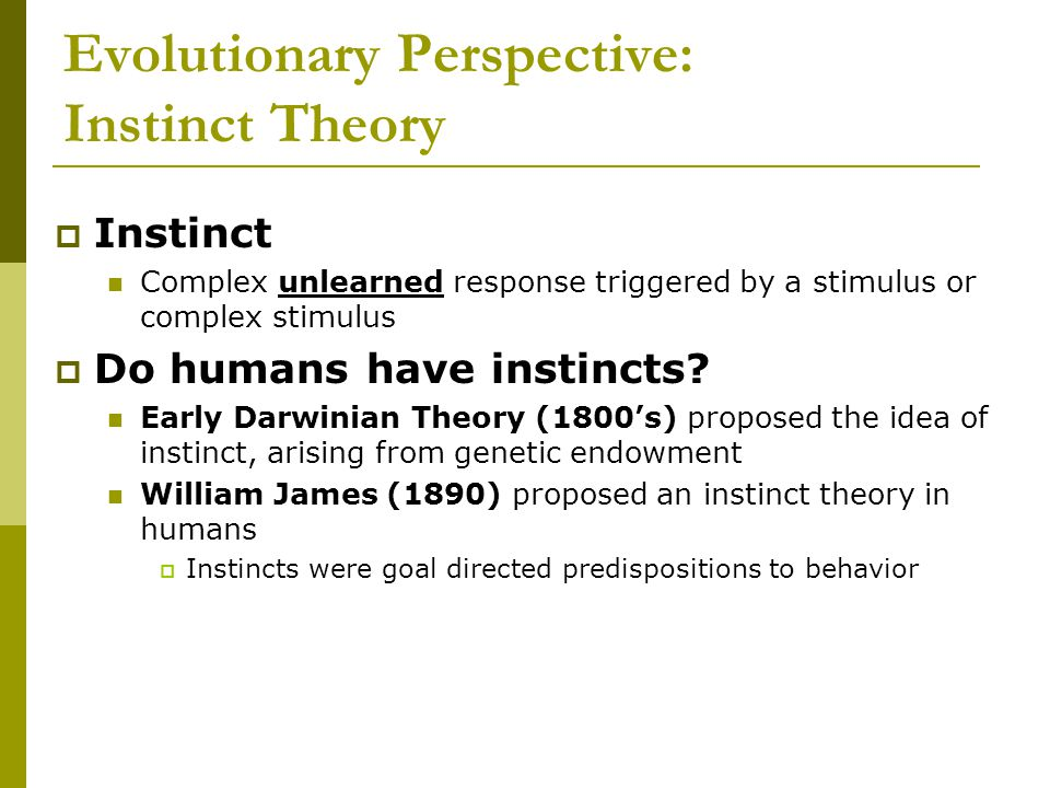Evolutionary Perspective: Instinct Theory