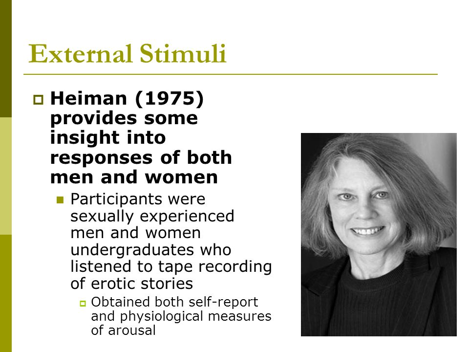External Stimuli Heiman (1975) provides some insight into responses of both men and women.