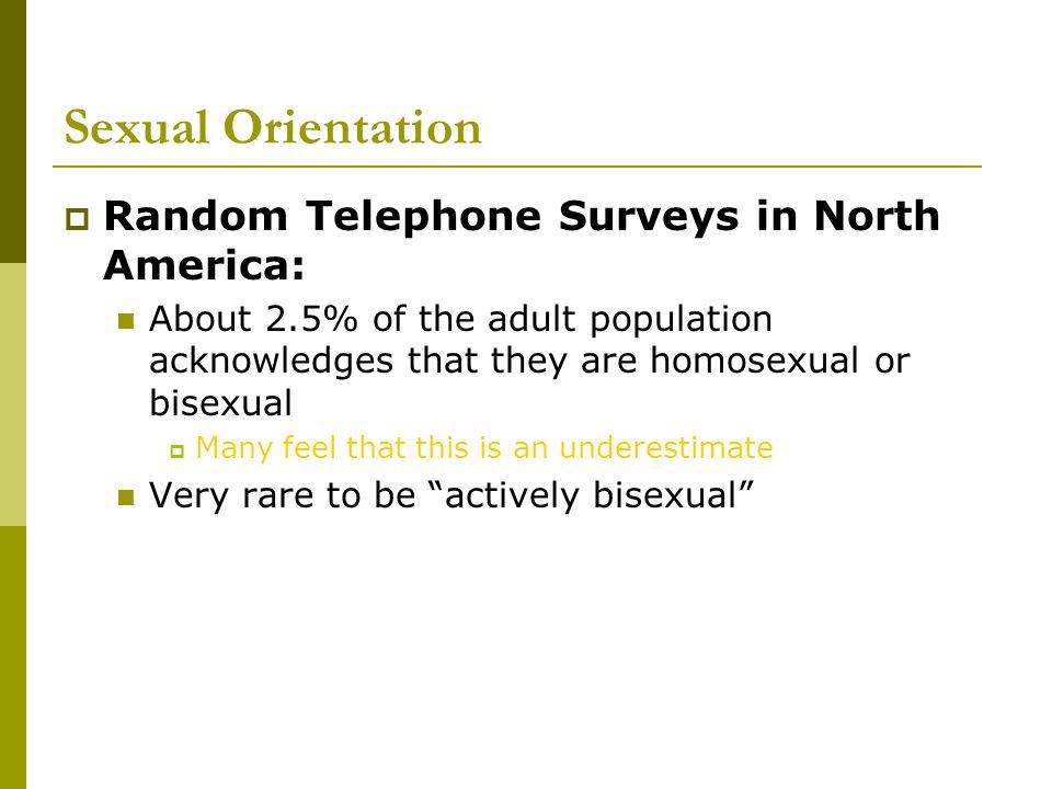 Sexual Orientation Random Telephone Surveys in North America:
