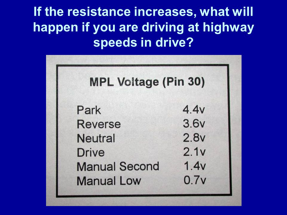 James Halderman If the resistance increases, what will happen if you are driving at highway speeds in drive