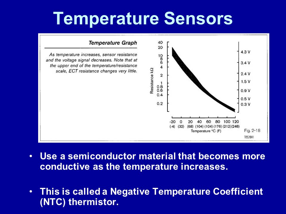 James Halderman Temperature Sensors. Use a semiconductor material that becomes more conductive as the temperature increases.