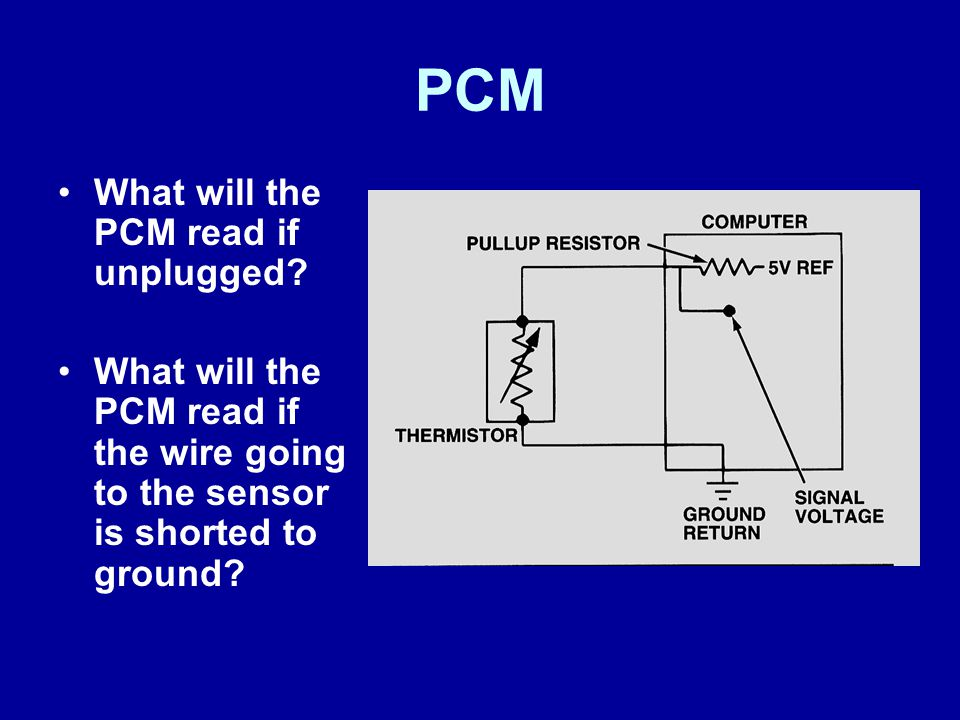PCM What will the PCM read if unplugged