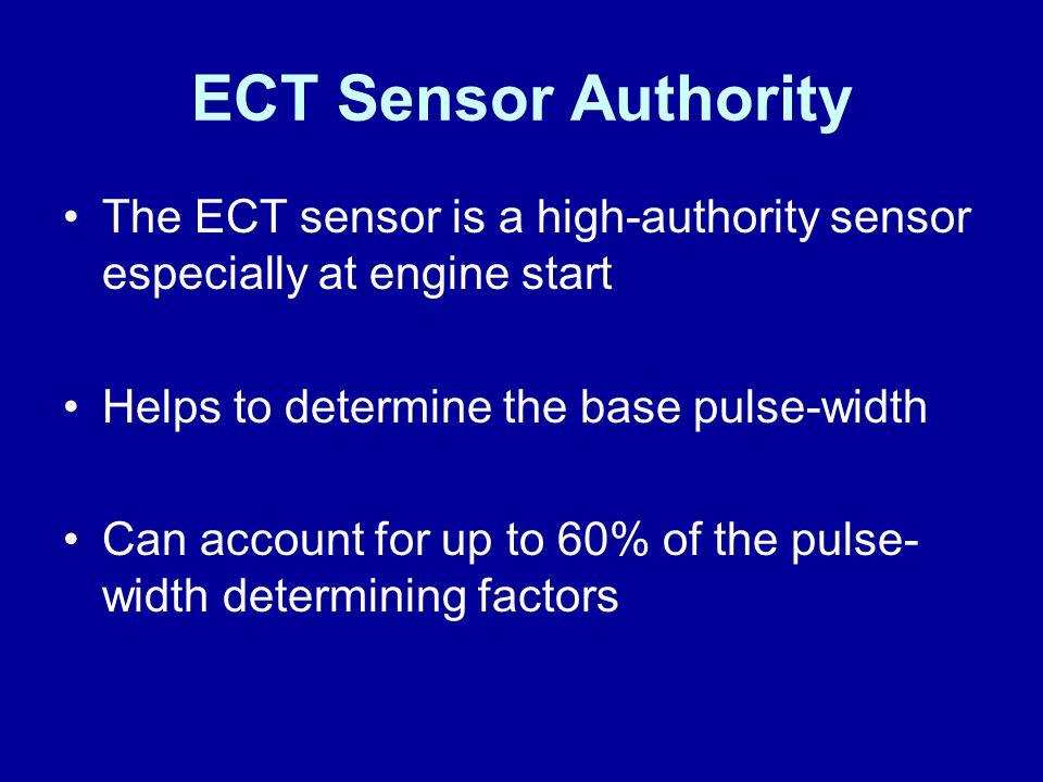 James Halderman ECT Sensor Authority. The ECT sensor is a high-authority sensor especially at engine start.