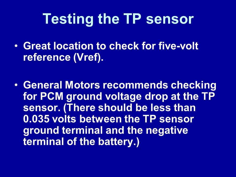 James Halderman Testing the TP sensor. Great location to check for five-volt reference (Vref).