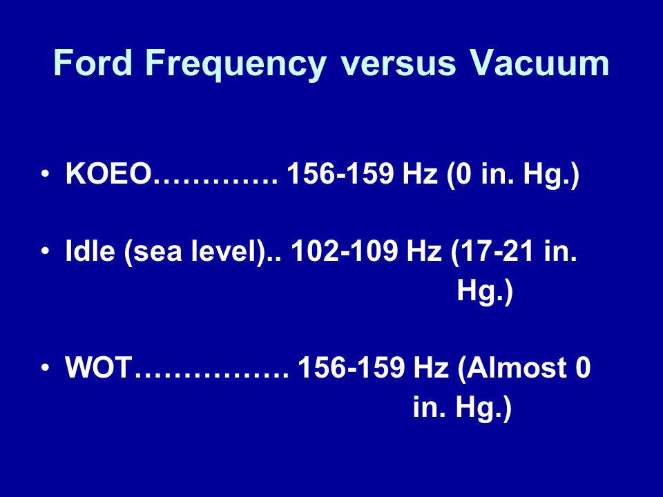 Ford Frequency versus Vacuum