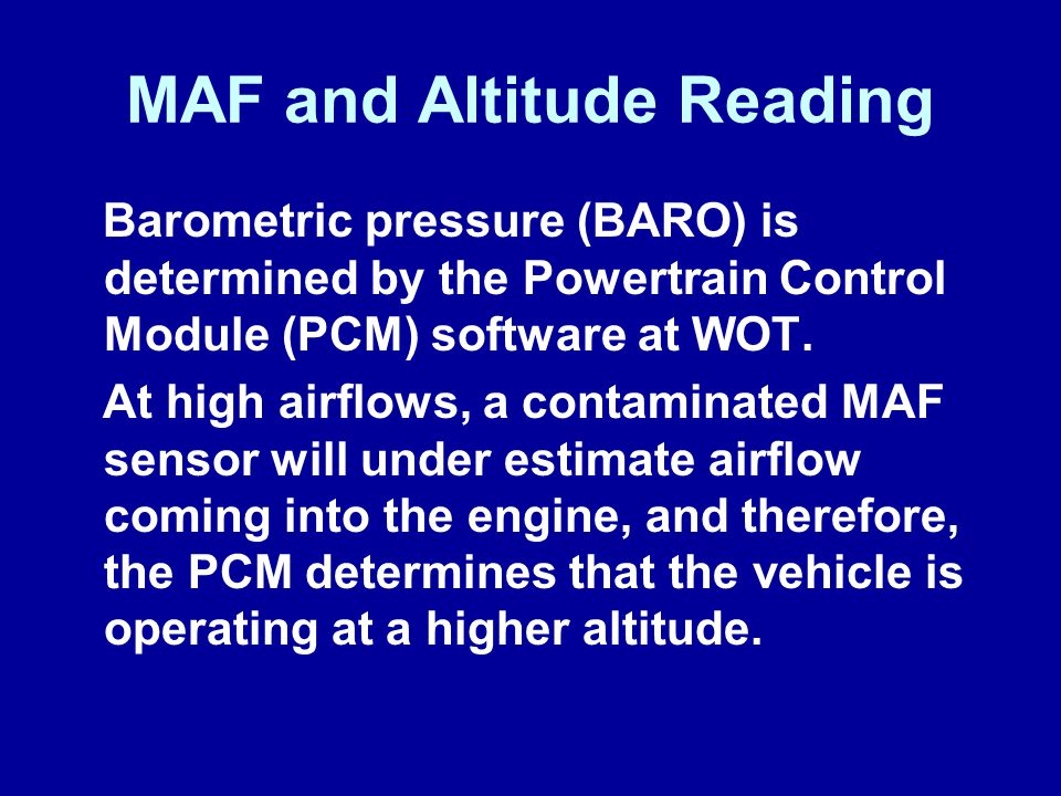 MAF and Altitude Reading
