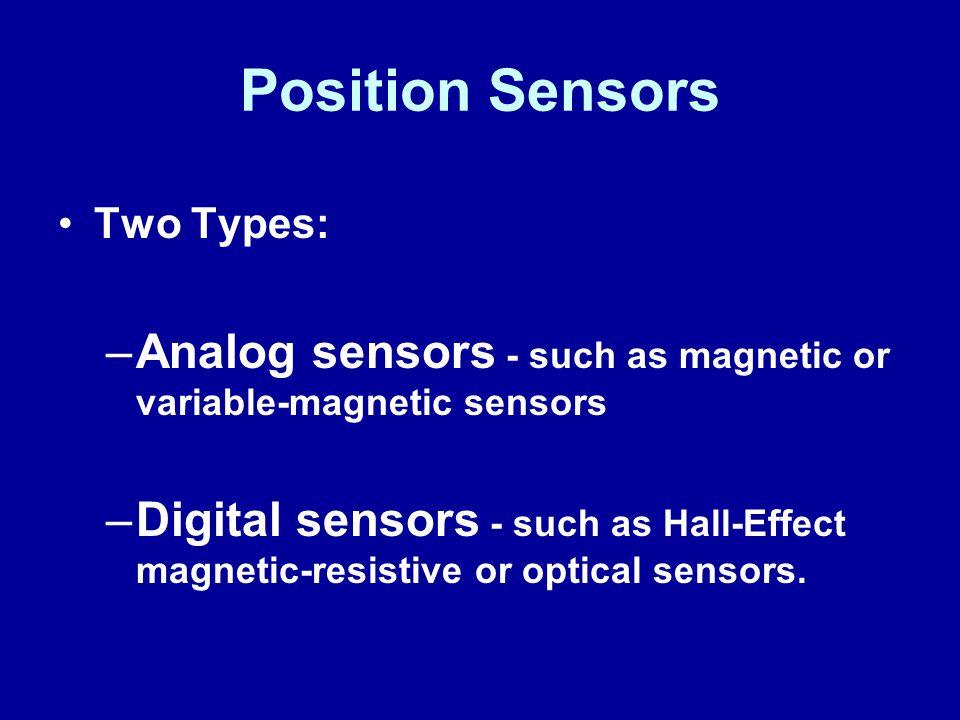 James Halderman Position Sensors. Two Types: Analog sensors - such as magnetic or variable-magnetic sensors.