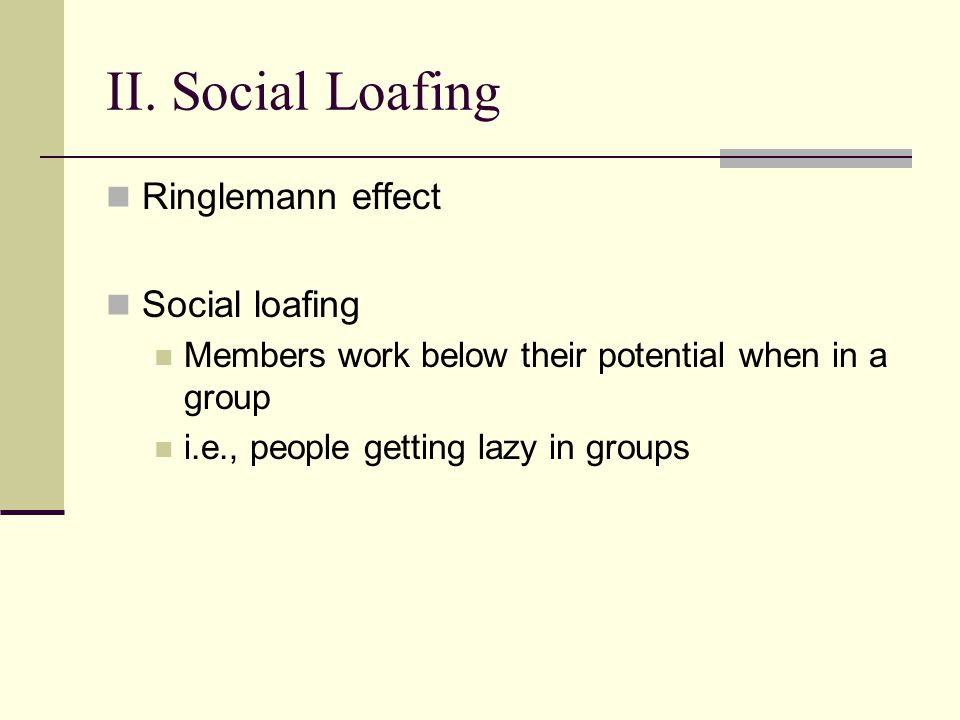 II. Social Loafing Ringlemann effect Social loafing