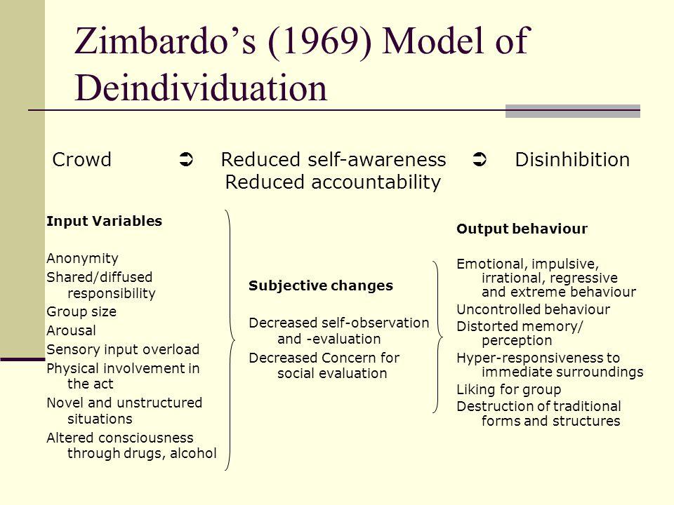 Zimbardo's (1969) Model of Deindividuation