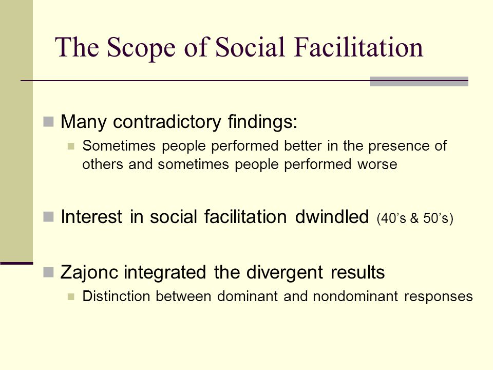 The Scope of Social Facilitation