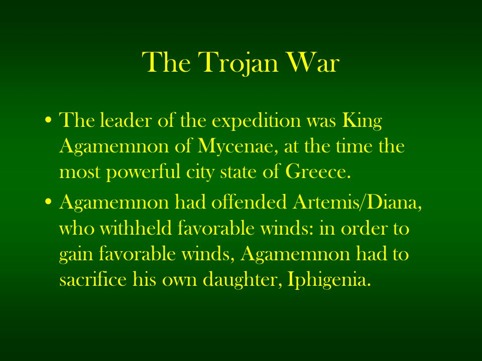 The Trojan War The leader of the expedition was King Agamemnon of Mycenae, at the time the most powerful city state of Greece.