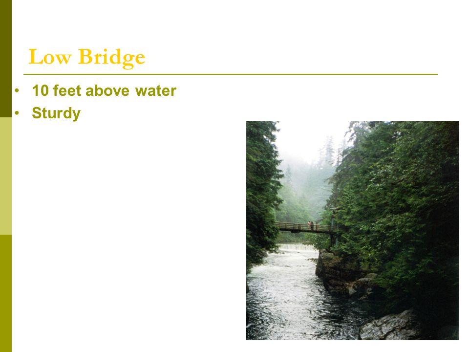 Low Bridge 10 feet above water Sturdy