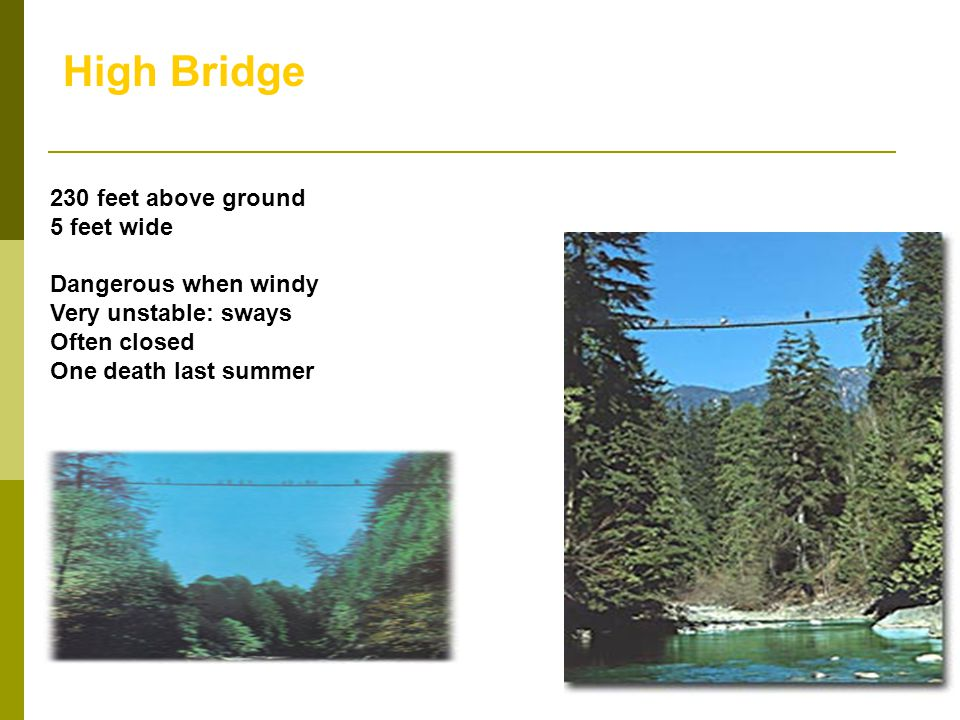 High Bridge 230 feet above ground. 5 feet wide. Dangerous when windy. Very unstable: sways. Often closed.