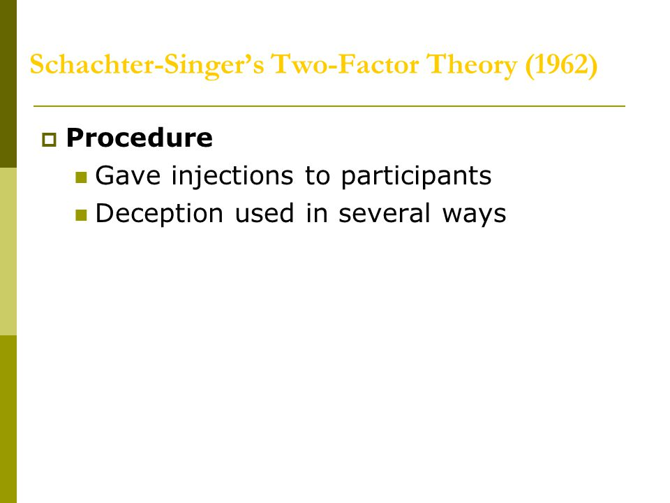 Schachter-Singer's Two-Factor Theory (1962)