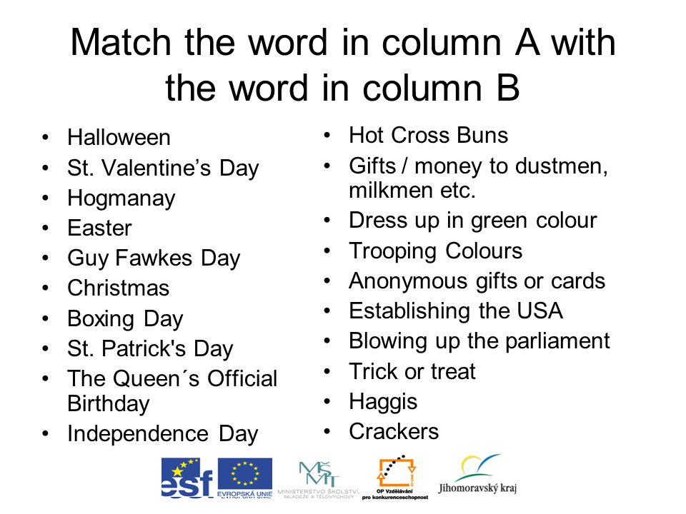 Match the word in column A with the word in column B