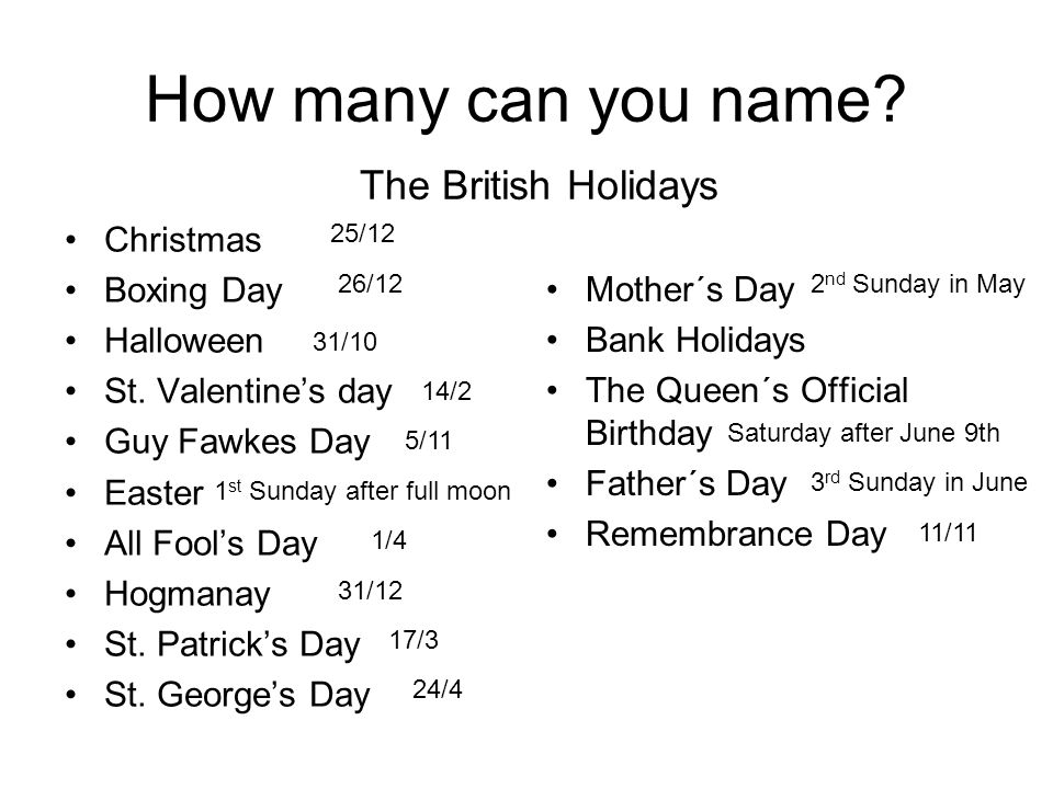 How many can you name The British Holidays Christmas Boxing Day