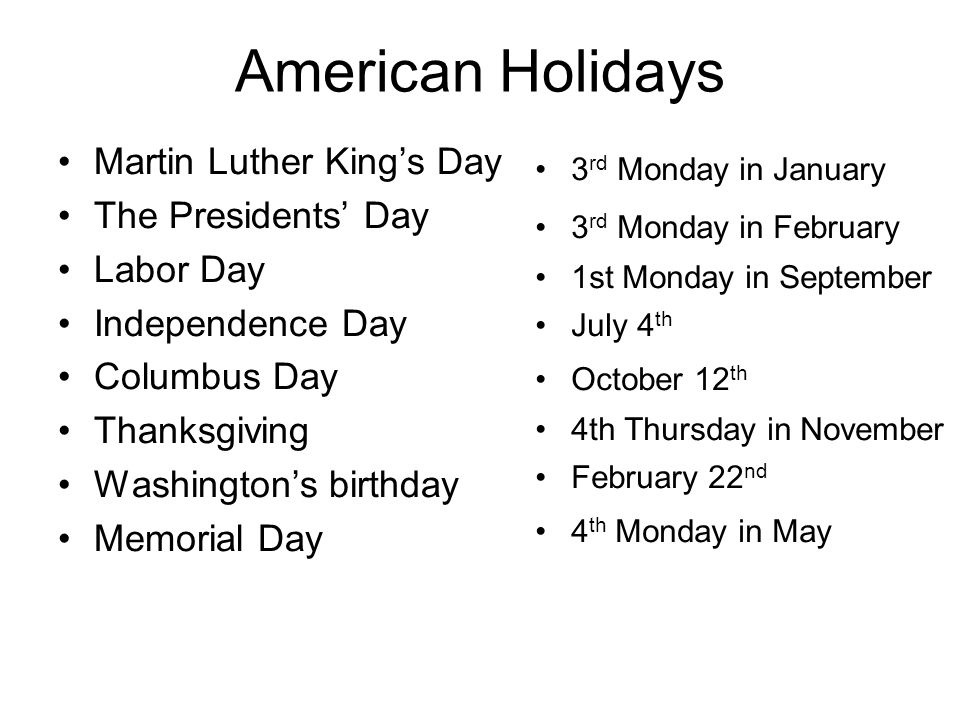American Holidays Martin Luther King's Day The Presidents' Day