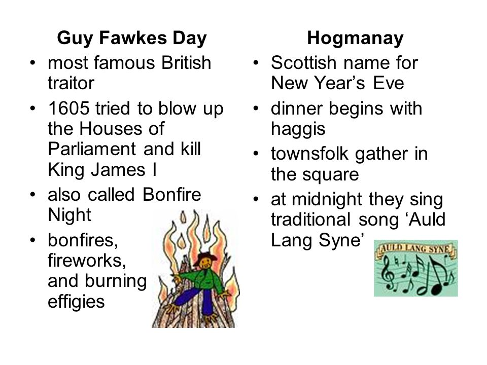 Guy Fawkes Day most famous British traitor. 1605 tried to blow up the Houses of Parliament and kill King James I.