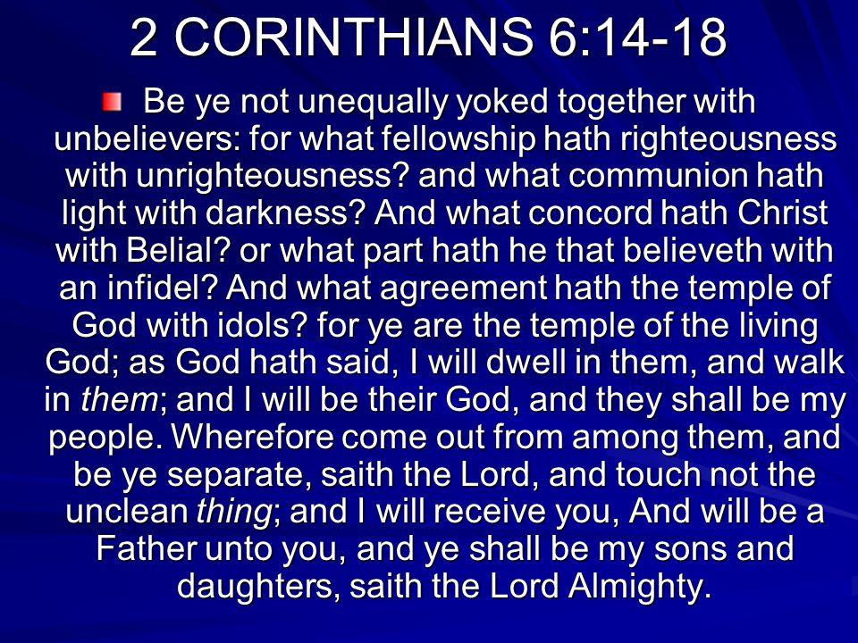 2 CORINTHIANS 6:14-18