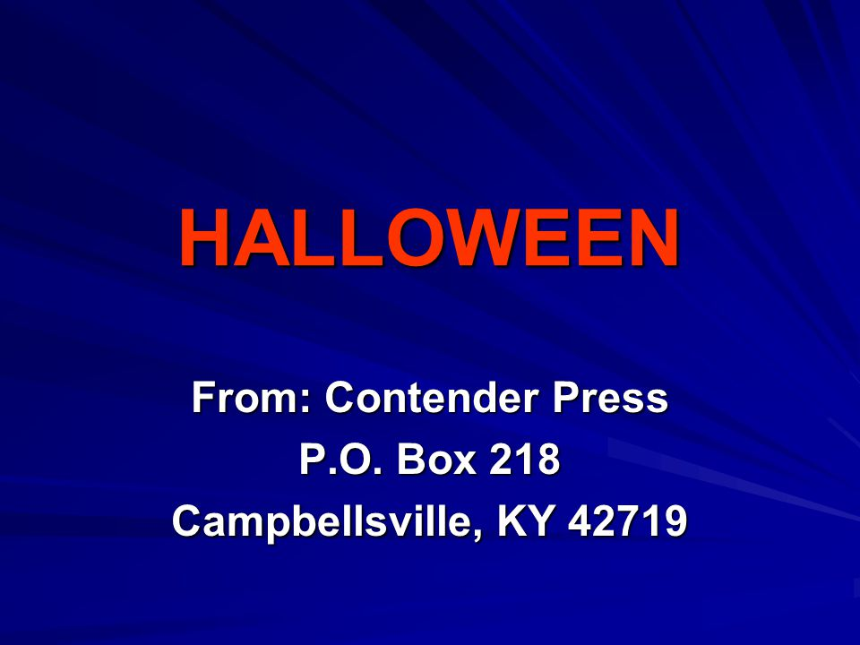 From: Contender Press P.O. Box 218 Campbellsville, KY 42719