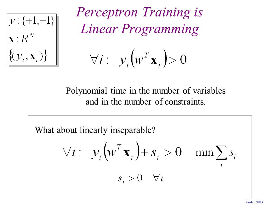 Perceptron Training is Linear Programming