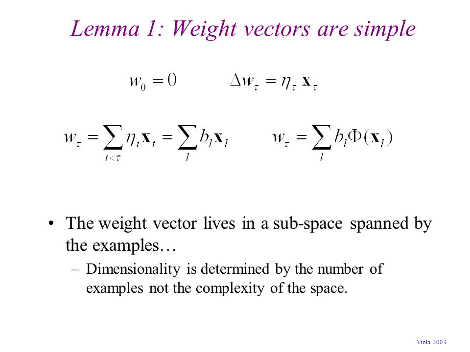 Lemma 1: Weight vectors are simple