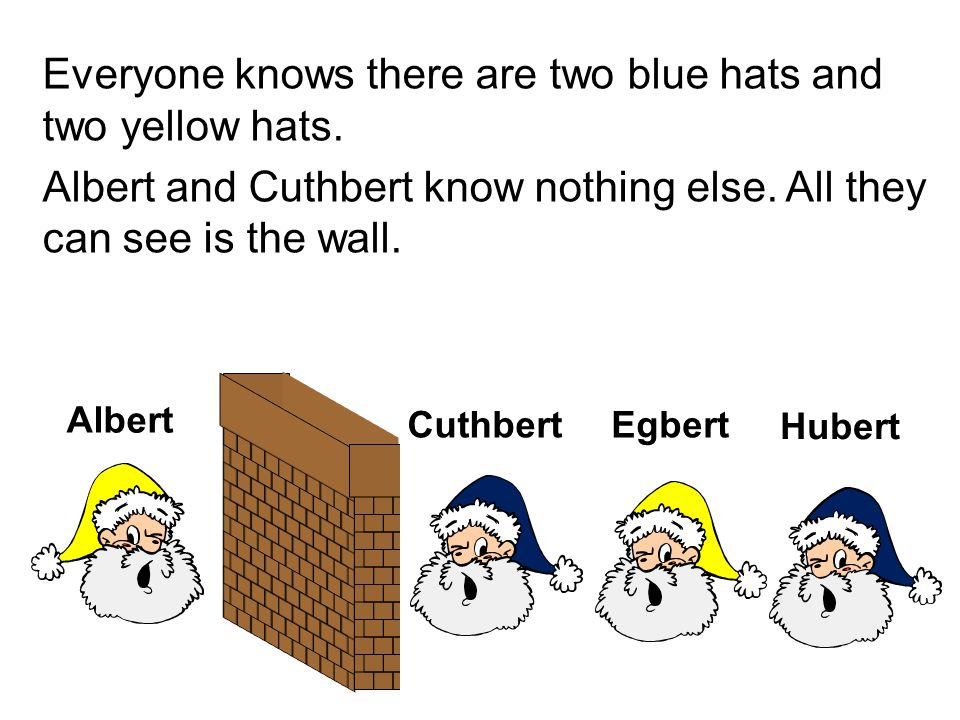 Everyone knows there are two blue hats and two yellow hats.
