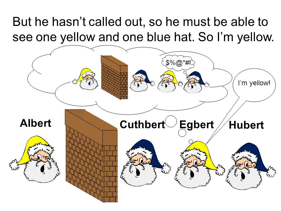 But he hasn't called out, so he must be able to see one yellow and one blue hat. So I'm yellow.