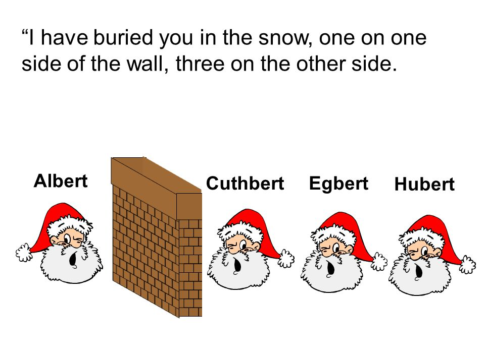 I have buried you in the snow, one on one side of the wall, three on the other side.