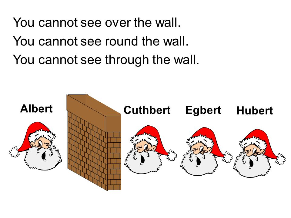 You cannot see over the wall. You cannot see round the wall.