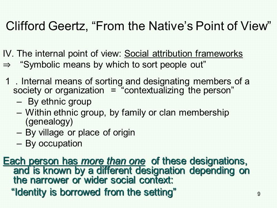Clifford Geertz, From the Native's Point of View