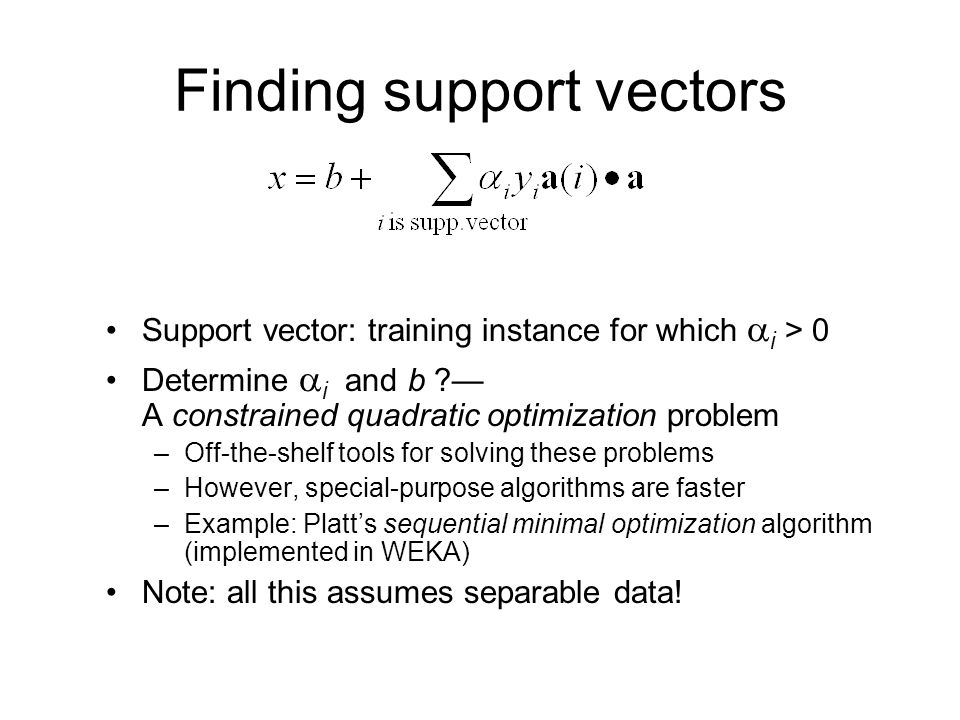 Finding support vectors