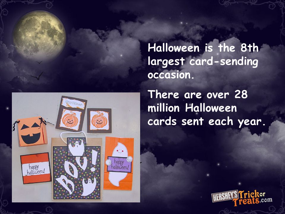 Halloween is the 8th largest card-sending occasion.