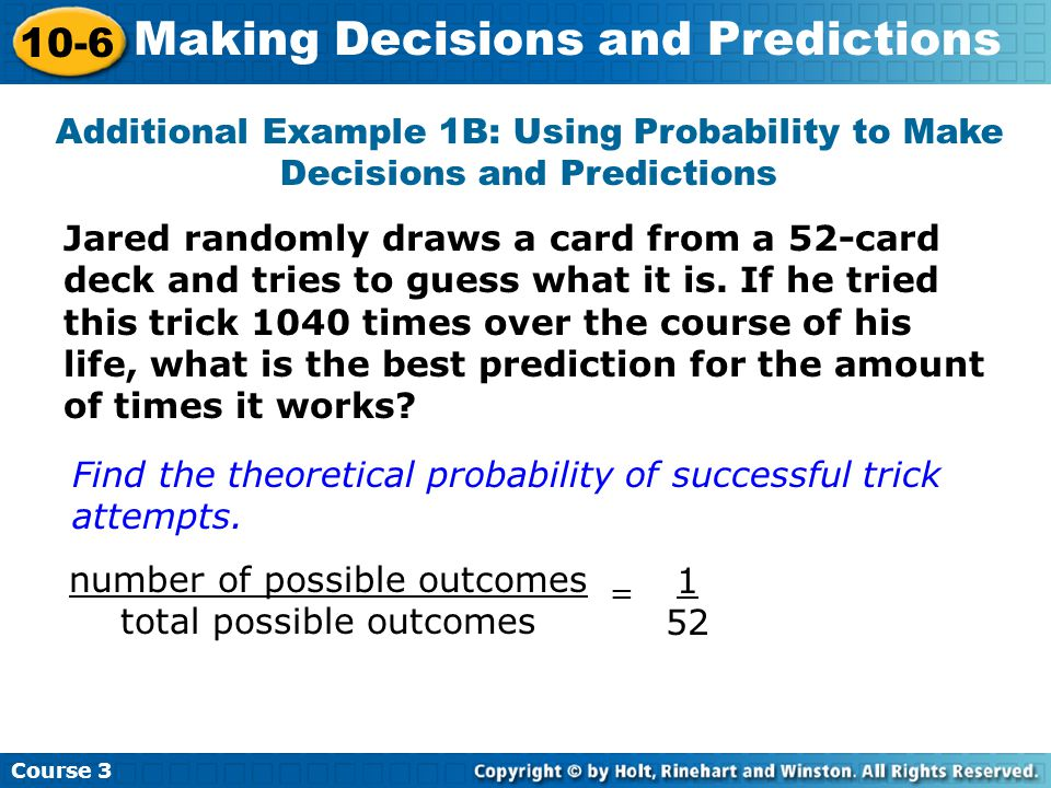 number of possible outcomes total possible outcomes
