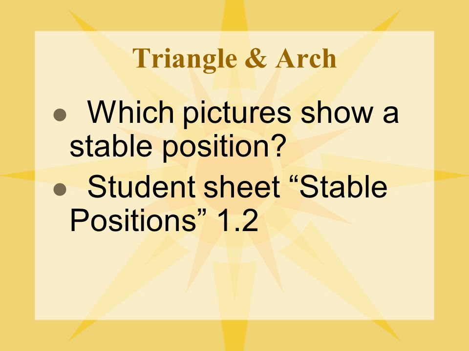 Which pictures show a stable position