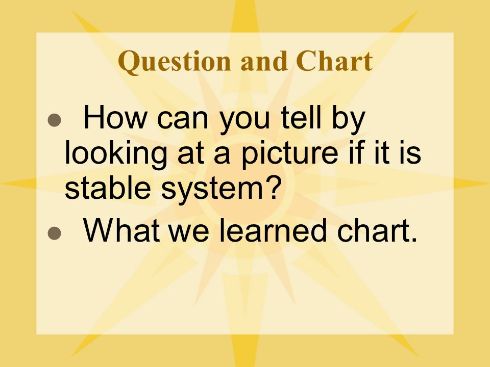 How can you tell by looking at a picture if it is stable system