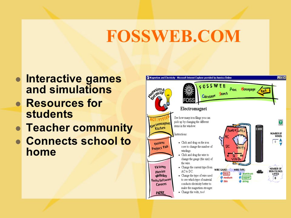 FOSSWEB.COM Interactive games and simulations Resources for students