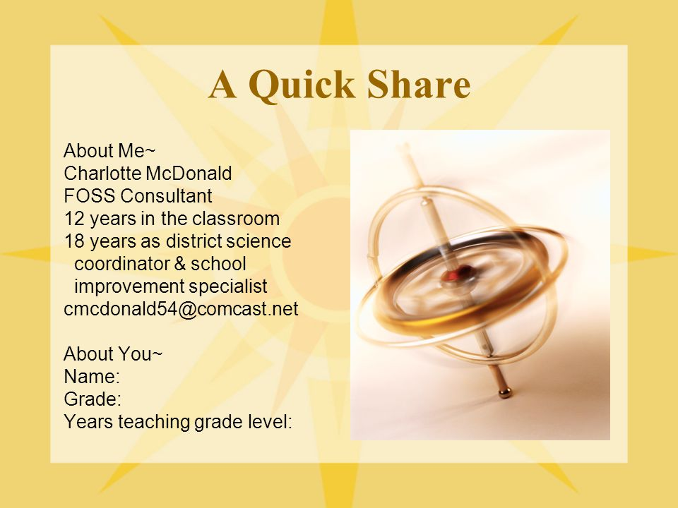 A Quick Share About Me~ Charlotte McDonald FOSS Consultant