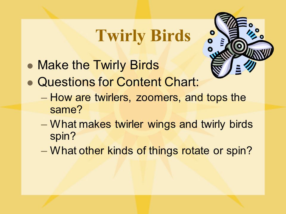 Twirly Birds Make the Twirly Birds Questions for Content Chart: