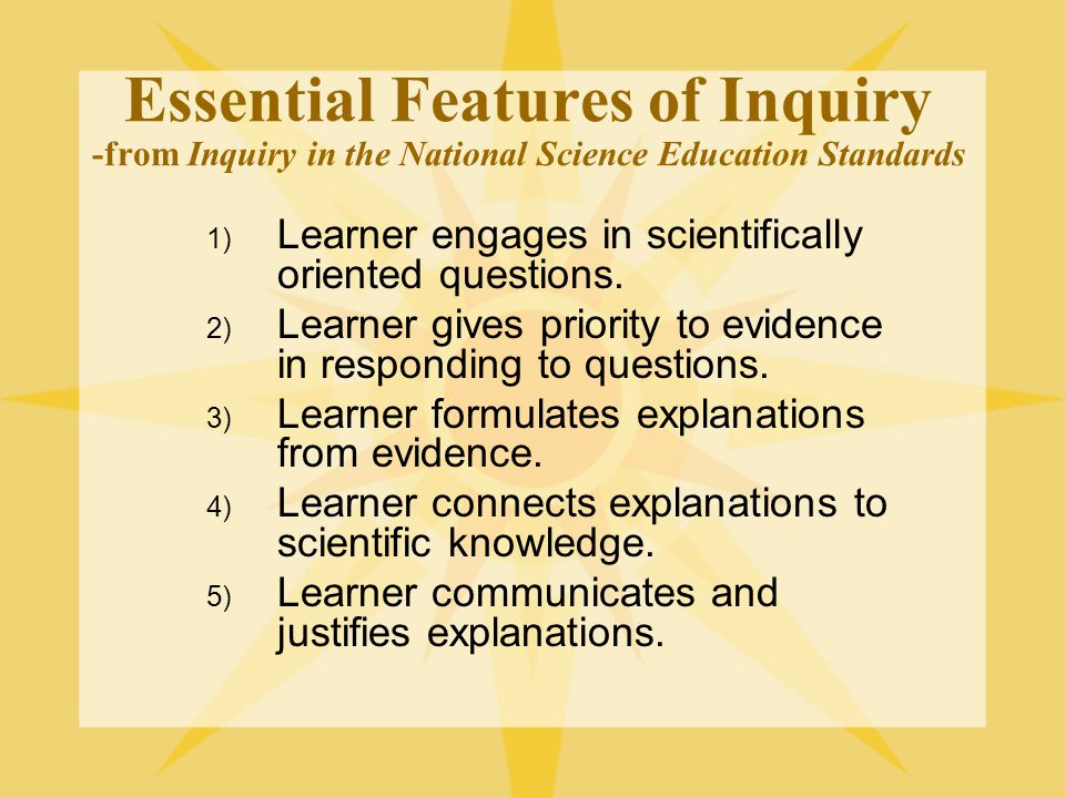 Essential Features of Inquiry -from Inquiry in the National Science Education Standards