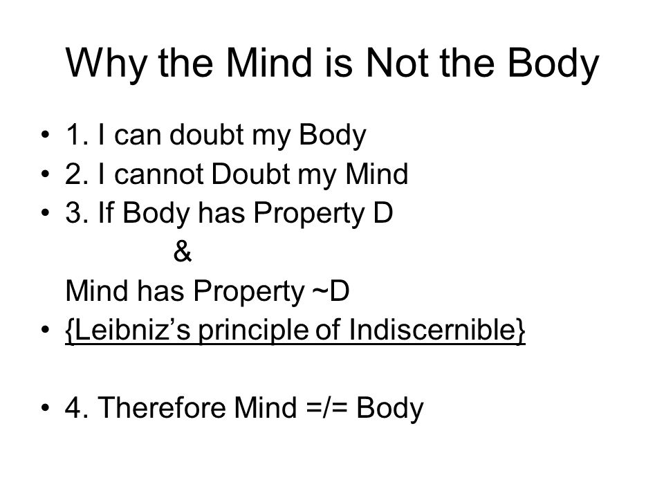 Why the Mind is Not the Body