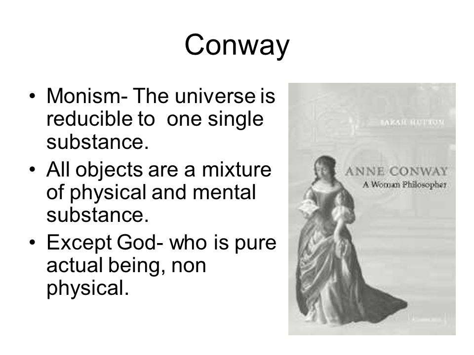 Conway Monism- The universe is reducible to one single substance.