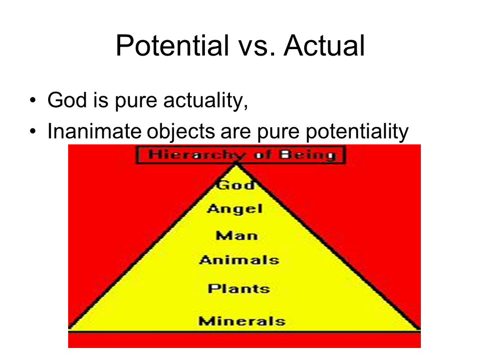 Potential vs. Actual God is pure actuality,
