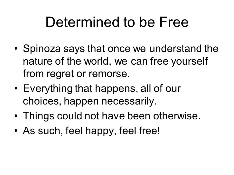 Determined to be Free Spinoza says that once we understand the nature of the world, we can free yourself from regret or remorse.